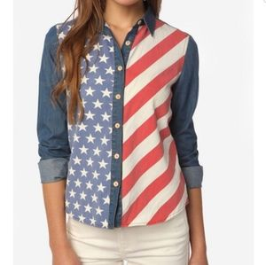 Urban Outfitters American Flag Chambray Shirt